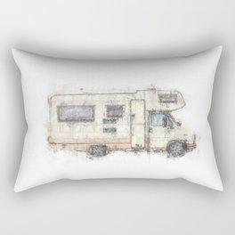 vintage camping bus painting illustration Rectangular Pillow