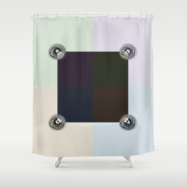 Spiral Lines 4 Light and Dark Colors Geometry Shower Curtain