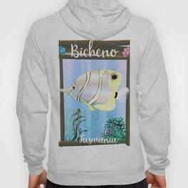 Bicheno Tasmania vintage travel poster, underwater sea. Hoody