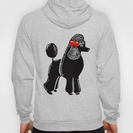 Black Standard Poodle with a Red Bow Hoody
