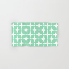 Mid Century Modern Star Pattern Mint Green 2 Hand & Bath Towel