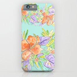 tropical hawaiian flowers aqua iPhone Case