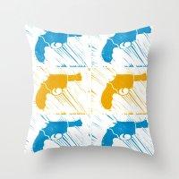 guns Throw Pillows featuring Guns by Chloe Bromfield
