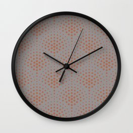 Cavern Clay SW 7701 Polka Dot Scallop Fan Pattern on Slate Violet Gray SW9155 Wall Clock