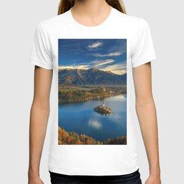 Bled Castle autumn sunset forest Lake Bled Slovenia T-shirt