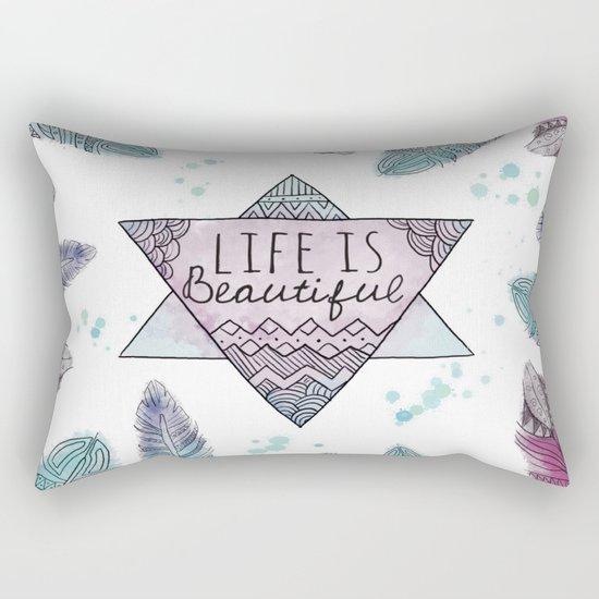 Life is beautiful (watercolor boho feathers) Rectangular Pillow