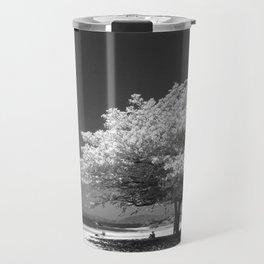 A Dogwood on the Beach Black and White Photographic Art Print Travel Mug