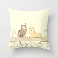 Cats on the Fence Throw Pillow