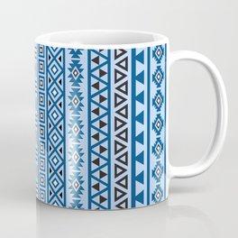 Aztec Influence Pattern II Blues Black White Coffee Mug