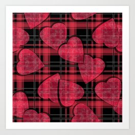 Red hearts, plaid Art Print