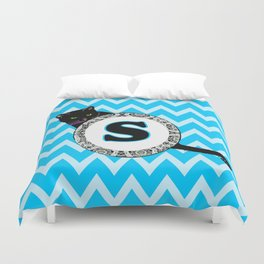 S Cat Chevron Monogram Duvet Cover