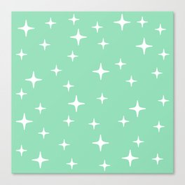Mid Century Modern Star Pattern 443 Mint Green Canvas Print