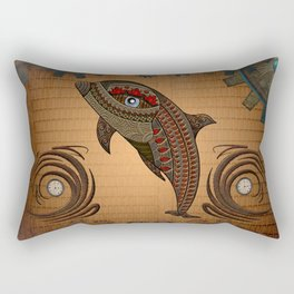 Steampunk, awesome steampunk dolphin Rectangular Pillow