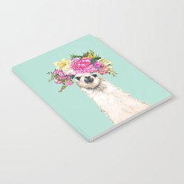 Flower Crown Llama in Green Notebook