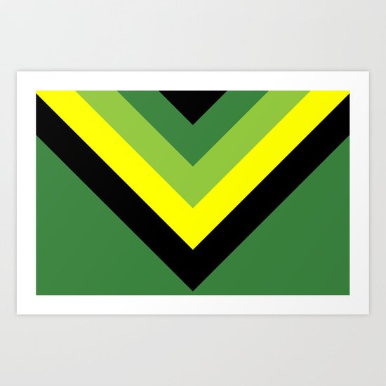 V-lines Green style Art Print