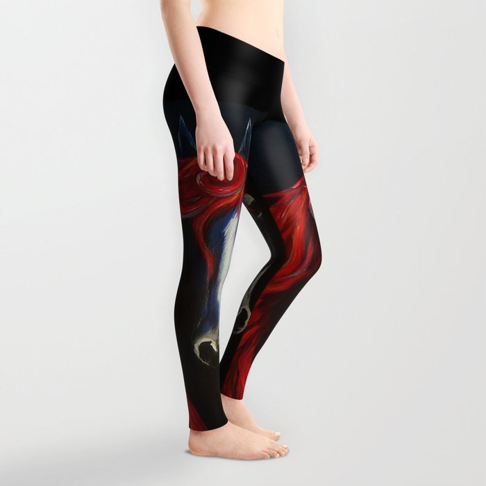 Red and Blue Horse Leggings