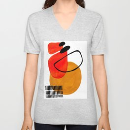 Mid Century Modern Abstract Vintage Pop Art Space Age Pattern Orange Yellow Black Orbit Accent Unisex V-Neck