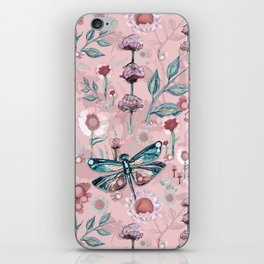 Rose Gold Dragonfly Garden | Pastel iPhone Skin