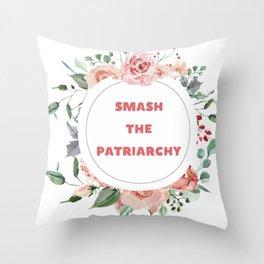 Smash The Patriarchy - A Floral Print Throw Pillow
