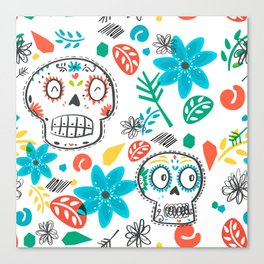 Summer sugar skulls Canvas Print