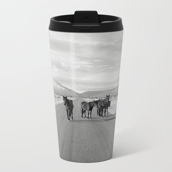 Spring Mountain Wild Horses Metal Travel Mug