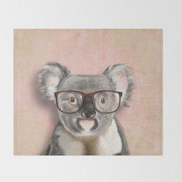 Funny koala with glasses Throw Blanket