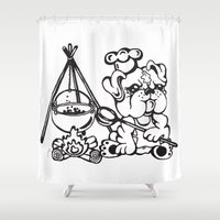 chef Shower Curtains featuring Chef puppy by Paula Duta