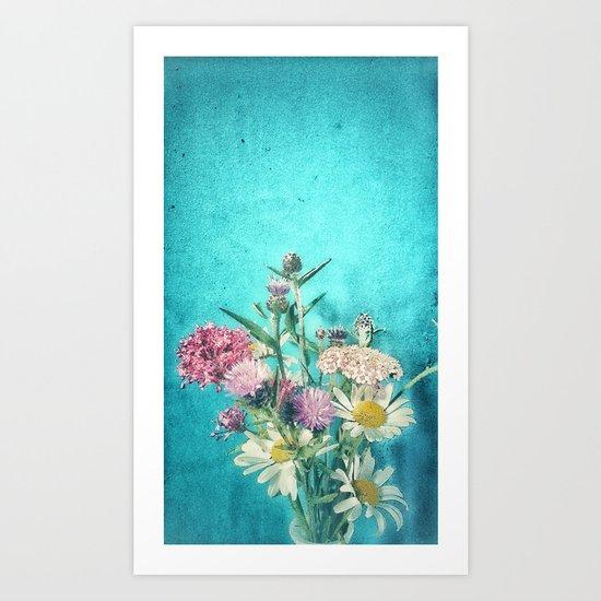 Retro Blue Wild Flowers Art Print