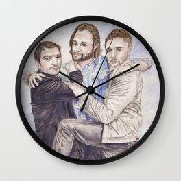 Team Free Will: Misha Collins; Jared Padalecki and Jensen Ackles, watercolor painting Wall Clock