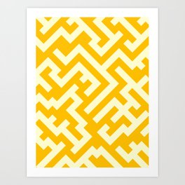 Cream Yellow and Amber Orange Diagonal Labyrinth Art Print
