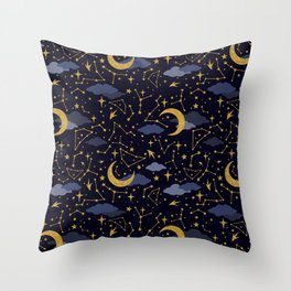Celestial Stars and Moons in Gold and Dark Blue Throw Pillow