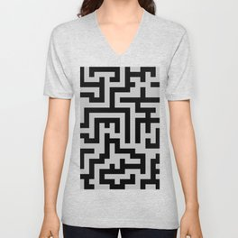 Black and Gray Labyrinth Unisex V-Neck