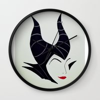 maleficent Wall Clocks featuring Maleficent  by Olivia Iman