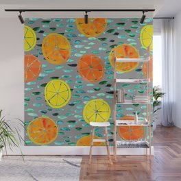 Citrus Lily Pads (Gray) Wall Mural