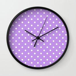 Lilac with White Polka Dots Wall Clock
