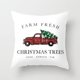 Christmas Tree Farm Vintage Truck Throw Pillow