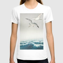 Seagulls over a stormy sea - Vintage Japanese Woodblock Print Art T-shirt