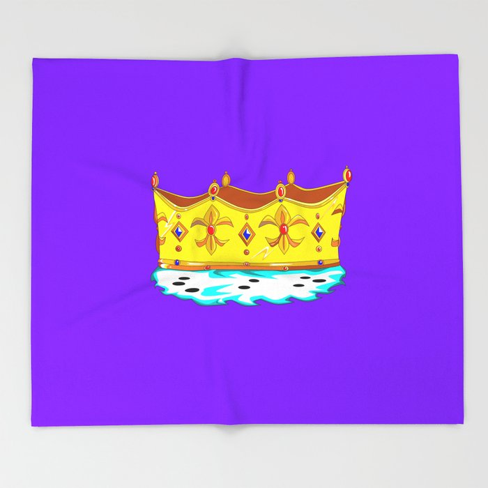 A Gold Crown with Ermine Fur Throw Blanket