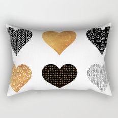 Gold, black, white hearts Rectangular Pillow