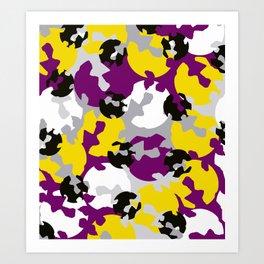 Purple and ochre camouflage Art Print