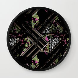 Floral-geometric pattern on a black background. Wall Clock