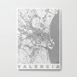 Valencia Map Line Metal Print