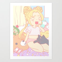 Lazy Usagi Art Print