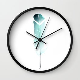 Turquoise tribal feather Wall Clock