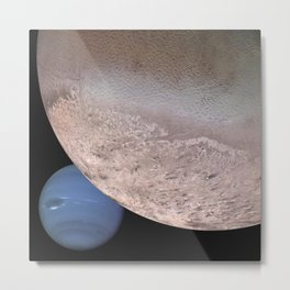 Montage of Neptune and Triton by Spacecraft Voyager 2 Print Metal Print