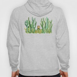 In my happy place - hedgehog meditating in cactus jungle Hoody