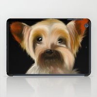 yorkie iPad Cases featuring Yorkie on Black by barefoot art online