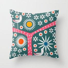 Sunny bird route Throw Pillow