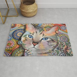 Aslan ... Abstract cat art painting, by Amy Giacomelli Rug
