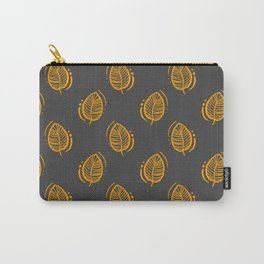 Block print mustard leaf Carry-All Pouch